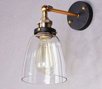 art glass sconces - Vintage American Country Style Clear Glass Cover Lampshade Industrial Retro E27 Edison Bulb Wustic Wall Lamp Light Warehouse Sconce