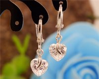 Wholesale 2016 Pair sterling silver Cute Vogue Clear CZ Cubic Zirconia Heart Drop earrings