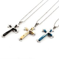 Wholesale Cheap High Quality Unisex Men Black Blue Gold Silver Stainless Steel Cross Pendant Necklace Chain