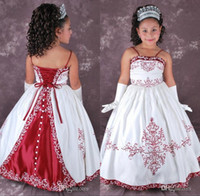 red and white wedding dresses - Vintage Ball Gowns Children Wedding Dress For Girls Spaghetti Straps Embrodiery Lace Up Floor Length White And Red Flower Girls VT
