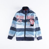 Cheap nova new arrival kids outwear coat peppa pig embroidery fleece hoodie jacket striped sweatshirts no hoods for boys clothes A5333Y