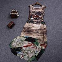 designer one piece dress - elegant summer women s sexy print one piece dress chiffon tank Dress brand designer runway dress plus size maxi dresses XL XXL