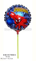 Wholesale 100pcs cm spiderman foil balloon with stick and cup for childs toys Aluminium helium balloon