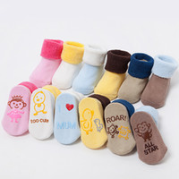 baby terry socks - New Arrival Baby Infant No Slip Socks Funny Cartoon Non skid socks Terry Thicken Knee High Kids Legging Warmers
