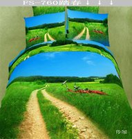 Wholesale 3D Oil Painting Bedding Bed Sheet Pastoral Style Bedcover Bedding Bed Sheet Duvet Cover Pillowcase Home Textile Quilt