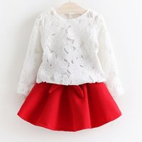 pleated skirt - Latest Style Girls Pretty Children Girls Lace Crochet Tops Bow Pleated Skirts Two Piece Sets Kids Elegent Princess Fashion Dress Sets