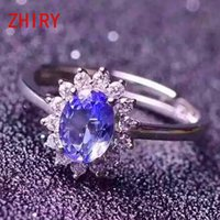 Wedding tanzanite rings - Genuine tanzanite real sterling silver natural Blue gemstone ring gem white gold plated synthetic diamond engagement