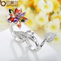 beautiful unique rings - Bamoer Unique Silver Women Double Ring in Flower and Leaf Colored Beautiful Finger Ring Fit for Size XCHR034