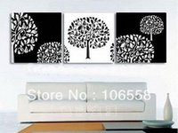 Cheap C40082 Free Shipping Hand-painted Art Oil Home Huge wall decor Modern Wisdom Tree Abstract Landscape on Canvas Oil Painting Set
