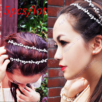 Wholesale 5pcs Women Fashion Silver Crystal Flower Elastic Hair Band Headband