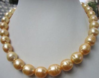 fermoir en or jaune 14k achat en gros de-Gros perle collier 12-13mm mer du sud baroque jaune perle collier 18 pouces 14k or fermoir