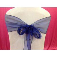 Wholesale Navy Bow Organza Sashed For Wedding Party And BANQUET Wedding Chair Sash