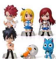 Wholesale Fairy Tail figure Lucy Natsu Gray Elza Happy PVC Figures Toys set T3143