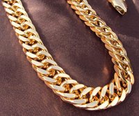 Wholesale Heavy K Yellow Gold Double Curb Chain Mens Huge Necklace mm wide thick Containing about or more of an alloy