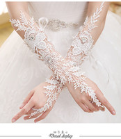 Wholesale 2015 New Arrival Bridal Gloves Luxury Lace Flower Glove Hollow Wedding Dress Accessories Ivory Bridal Gloves