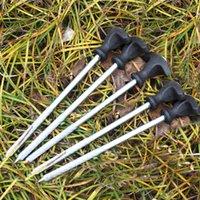 5pcs 21cm estremeció Hierro tienda de campaña Clavijas Heavy Duty Carp Fishing Clavijas Plata y Negro Color Y0598