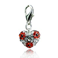 rhinestone keychain - Fashion Floating Charms Inlaid Rhinestones Heart Shaped Car Keychain Locket Charms