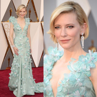 Wholesale Luxury Oscars Cate Blanchett Celebrity Red Carpet Dresses Deep V Neck Sweep Train Feathers Flowers Evening Gowns Long W6802