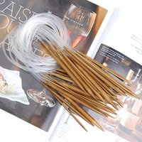 circular knitting needles - 1Set Single Pointed Carbonized Bamboo Circular Knitting Needles