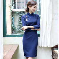 Wholesale Improve Cheongsam Autumn New Stand Collar Long sleeve Vintage Chinese Qipao Women Slim Classical Dress Traditional Chinese Clothing