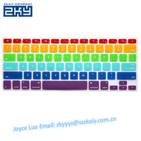 Silicone silicone keyboard cover - SZZKAIY Waterproof Rainbow Color Silicone Keyboard Cover Protector Skin for US Apple Macbook Pro Inch