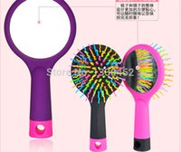 Wholesale 50pcs Rainbow Hair Curl Massager Hair Tangle Brush Comb With Mirror