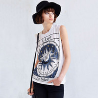 acrylic painting signed - 2015 Brandy Melville Women Europe Street Fashion Leisure Printing T shirts Hand painted Sign Loose Sleeveless Vest E017 FG1511