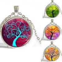 animal family tree - Tree of Life Glass Pendant Necklace Jewelry Circle Resin Crystal Stone Family Christmas Style Charm Necklaces Chains Jewellery Gift Hot Sale