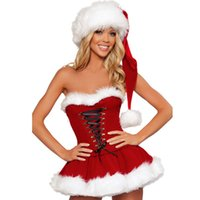Wholesale Sexy Santa Claus Costume red exotic dress women off the shoulder cap new fashion bandage short skirt Christmas Party