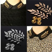 Wholesale Fashion Leaf Big Brooches For Dresses Collar Pin Brooch For Women CM Alloy Elegant Double Leaf