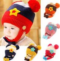Wholesale 2014 Cute Pentagram Ear Protection Hats Baby Boys Girls Multicolor Hats Kids Stripes Ball Caps Autumn Winter Korean Kids Hats Colors L0308
