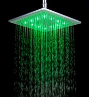 Wholesale 10 Inch Brushed Nickel LED Rain Shower Head RGB Colors Changing Temperature Sensoring Bathroom Shower Stainless Steel Material Square