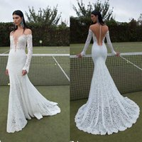 Cheap Sexy Sheer 2015 Berta Wedding Dresses Lace Covered Button Long Sleeve Deep V Neck Court Train Bridal Dresses Dhyz 01