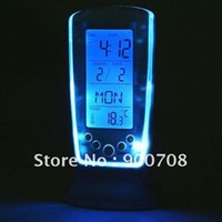 Wholesale LED square Digital Alarm clock calendar thermometer Blue Backlight
