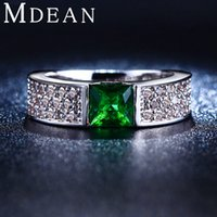 Wholesale Green Crystal Jewelry white gold plated CZ Diamond Engagement Classic Round Rings For Women MSR210