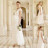 dresses for pregnant women long dress - Maternity Lace Wedding Dresses White V neck Short Sleeves Empire Pregnant Women Bridal Gowns Long Full Length Garden Dress For Brides