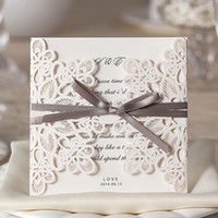 Wholesale By DHL White Hollow Lace Flora Wedding Invitation Cards New Wedding Favors with Envelopes and Bowknot Paper Invites Cards
