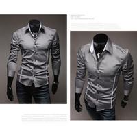 Wholesale Mens Shirts Casual Slim Fit Stylish Long Sleeve White Border Fashion Mens Shirts Tops Color