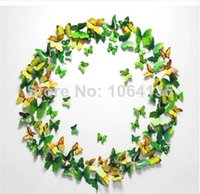 Wholesale DIY butterfly wall stickers home decor wall stickers wedding props stereoscopic D fridge magnet