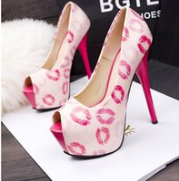 pink ladies shoes - Women s Club Party Dress Shoes High Heels Designer Platform Ladies Sexy Shoes Sequined Ever After High Peep Toe Pumps Pink Lips