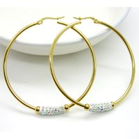 basket ball clips - Women Gift Sale Fashion Jewelry Size k Gold Huge Circular Crystal Clay Hoop Earrings Basket Ball Wives Earrings