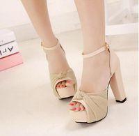 black heel bow - Brand New Romantic chiffon bow black thick heel summer sandals for women high heels beige wedding shoes