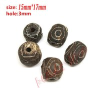 Wholesale Hot mmx15mm Prayer Mala Black Tibetan Mystical Agate Dzi Eyes Beads DIY necklace Jewelry w03454