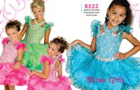 Wholesale Ball Gown Flower Ritzee Girls Dresses Lime Jade Cupcakes KR Crystal Ruffled Shoulder Sleeves Birthday Dress For Girl Pageant Gowns B522