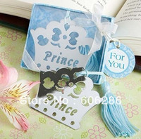 baby book gifts - silver Prince Crown Book mark metal with blue box for wedding return gifts and baby shower supplies