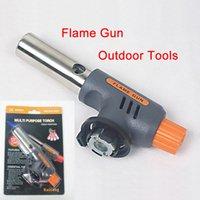 Snowsports bbq starter kit - Portable Gas Torch Hiking Camp Fire Starter Maker Flame Gun Gas Butane Burner Auto Ignition Weld Picnic Heating BBQ Kit E502L