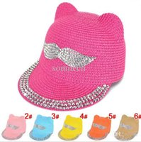 Cheap 1pcs Retail 2015 New Fashion Mustache Crystal Jewel Accessories Girls Straw Hat Summer Hat Chapeu Feminino Beach Hat Sun Hat