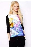 avant garde dresses - Autumn new European and American fashion trend of avant garde digital printing stitching hedging long sleeved shirt