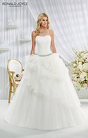 Cheap 2015 Ronald Joyce Estelle 69025 Ball Gown Wedding Dresses Curved Neckline White Chiffon Backless Sleeveless Pick Ups Lace Up Wedding Gowns