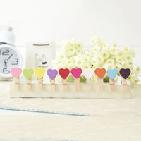 wooden hearts - Wooden Mini Heart Clips Shabby Chic Mini Clothes Peg Wedding Table Place Card Holders For Wedding Favor colos pds